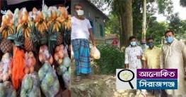 তাড়াশে করোনা রোগীর বাড়ীতে ফলমুল নিয়ে হাজির এমপির প্রতিনিধি দল